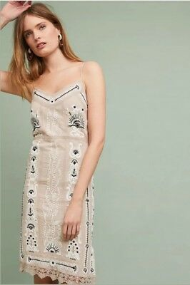 f4a267f2e803 NWOT ANTHROPOLOGIE by MAEVE Embroidered Slip Dress Size S $178 Tan Cream  Black