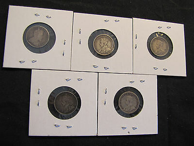 Lot of 5 Canada 10 Cents Silver Coins - 1907, 1916, 1918, 1919, 1928