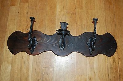 Antique Pine Wall Rack with two Cast Iron Hooks and One Candle Sconce: Handmade