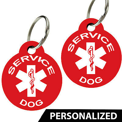 Service Dog ID Tags - Personalized Front and Back Premium Aluminum (Set of 2)