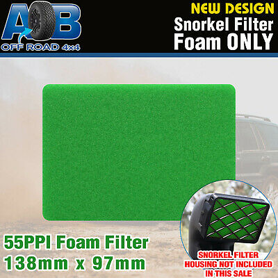 AOB Snorkel Pre Filter Cleaner Air Filter Foam 55 PPI GREEN 138mm x 97mm