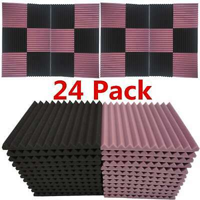 """24-Pack Acoustic Foam Panel Wedge Studio Soundproofing 1"""" X 12"""" X 12"""" Wall Tiles"""