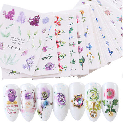 24 PCS Nail Art Stickers Watercolor Water Transfer Decals Flowers DIY Tips Lot
