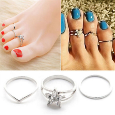 3PCS Beach Celebrity Silver Daisy Toe Ring Women Punk Style Finger Foot Jewelry