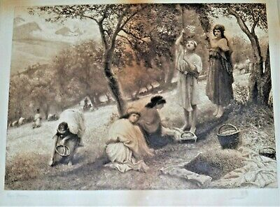 Edgar Barclay Signed Etching Of Women Farmers
