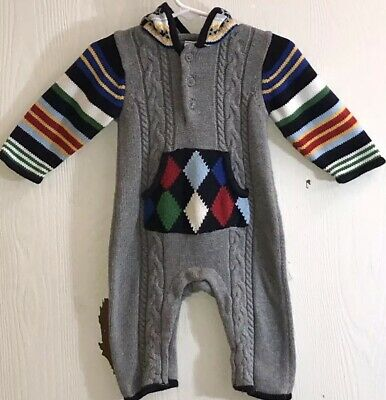Baby Gap Baby Boy's Sz 3-6M One Piece Outfit Sweater Long Sleeve/Pants Hood EUC