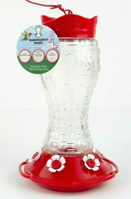 Heavy Duty Glass Hummingbird Feeder with 6 feeding ports, bee guards and perches