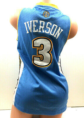 c503ad4d391 Allen Iverson Youth Jersey Denver Nuggets Sewn NBA Basketball Adidas Blue  Size M