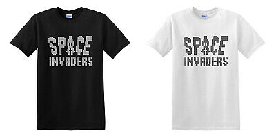 Space Invaders Shirt Retro Arcade Space Shooting Games Black White T-shirt S-2XL