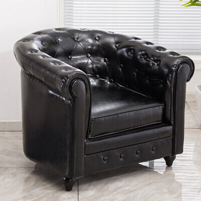 Chesterfield Distressed Leather Tufted TUB Chair Armchair Scroll Reception Sofa