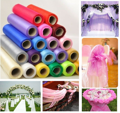 26M X 29cm Organza Roll Sheer Fabric Wedding Party Chair Sash Bow Table Runner