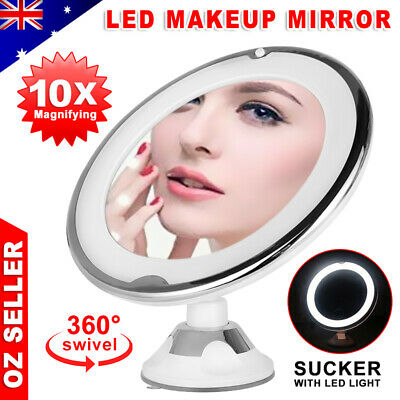 10x Magnifying Makeup Vanity Cosmetic Beauty Bathroom Mirror with LED Light Gift