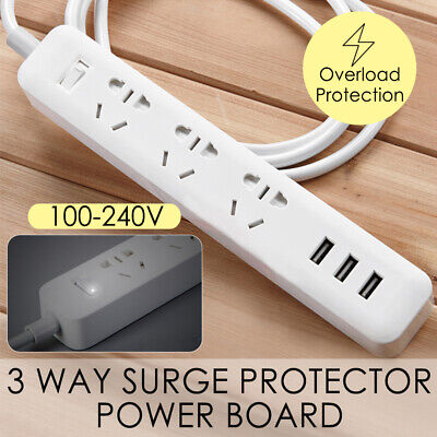 Power Board with 3 Way Outlets Socket 3 USB Charging Charger Ports Strip Surge