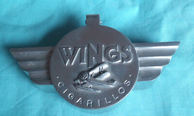 Art Deco Wings Ashtray Vintage Double Decker Airplane Cigarillos Aviation