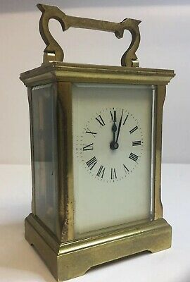 Antique English Mechanical Key Wind Carriage Clock - ACG - Brass & Glass - Runs