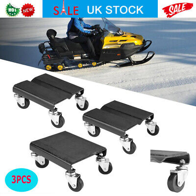 3Pcs Tire Car Dolly Auto Repair Snowmobile Moving Dollies Set Solid Steel + PP