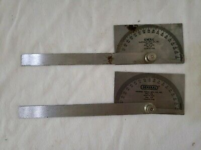 2 General No. 17 Stainless Steel Machinist Protractors
