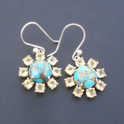 Turquoise Earring, 925 Sterling Silver, Citrine Earring, Natural Stone Earring,