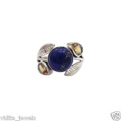 Solid 925 Sterling Silver Lapis & Citrine Cute Gemstone Ring