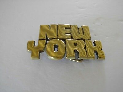 Belt Buckle New York 1978 Brass Gold Tone Vintage Nos Baron Buckle Co