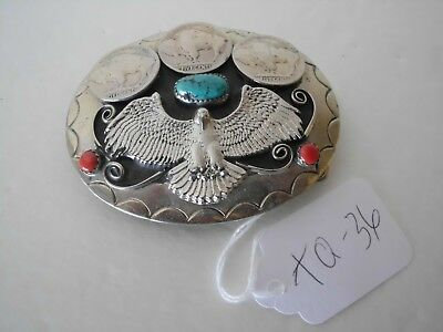 Belt Buckle Eagle 1-Turquoise 2-Coral 3- Buffalo Nickles Usa Nos Tq-32 G6
