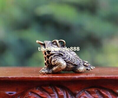 5 CM Chinese Bronze Fengshui Animal three Leg Money toad bufonid Wealth Pendant