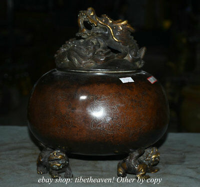 """10.4"""" Mark Old China Red Copper Dynasty Palace Lion Foot Incense Burners Censer"""
