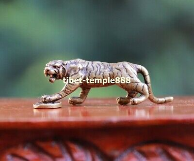 6 CM Chinese Zodiac Animal Pure Bronze Counteract Evil Force Beast Tiger Statue