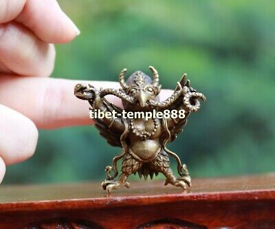 4 CM China Buddhism Pure Bronze Garuda Dhwaja Bird Amulet snake Pendant Necklace