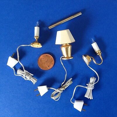 3 WORKING 12 VOLT LIGHTS. Dollhouse 1:12 scale,1 flametip bulb retractor.  RARE