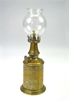 Vintage Brass Oil Lamp, Lampe Pigeon, With Chimney, Wick, French.