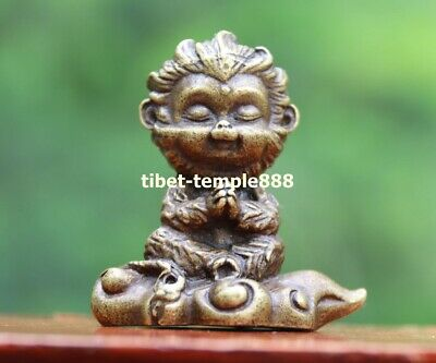 6 CM Chinese Pure Bronze Handwork Zodiac Animal Monkey king Sun Wukong sculpture