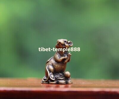 3CM Pure Bronze Indian corn Chinese Zodiac Animal Rat Mouse Wealth Amulet Statue