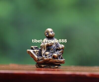 3 CM Chinese Buddhism 100/% Pure Bronze Deep Thought Little Monk Statue Sculpture