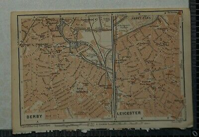 1910 Vintage Baedeker Map Plans of Derby and Leicester