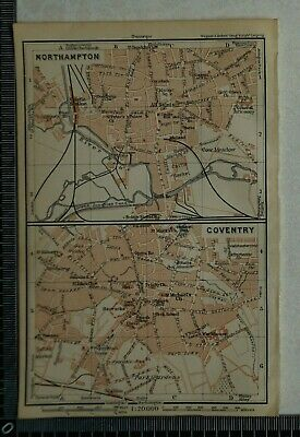 1910 Vintage Baedeker Map Plans of Northampton and Coventry