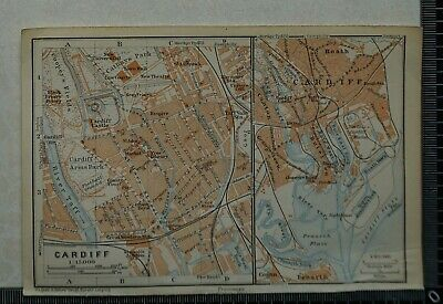 1910 Vintage Baedeker Map of the Environs of Cardiff