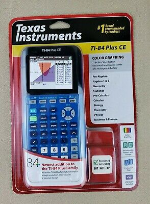 BIONIC BLUE! TI-84 Plus CE LATEST Graphing Calculator Silver Edition  Compatible!