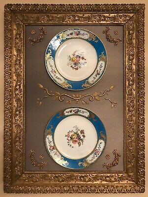 Antique French Early Sevres Vincennes Pair Of Porcelain Plates Circa 1753