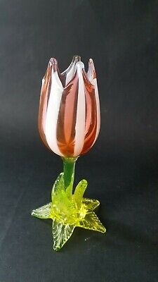 Victorian Vaseline Uranium Glass Tulip Vase with Candy Stripe Petals- Richardson