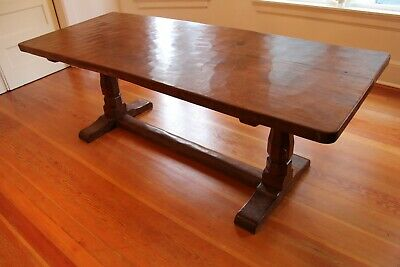 Early Years Coveted Era- 1935 Mouseman Refectory Table By Robert Thompson