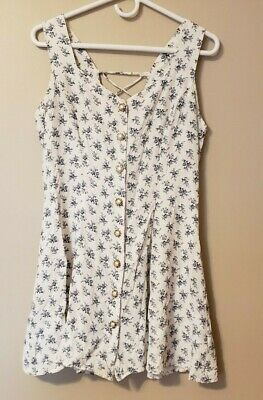 Vintage Frederick's of Hollywood Mini Dress 13/14 Floral Sleeveless Sexy Summer
