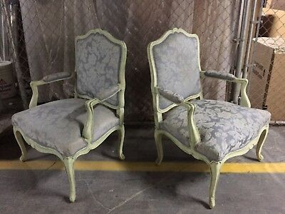 Vintage Pair of French Louis XV Style Painted Fauteuils Decorator Damask Chairs