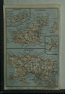 1910 Vintage Baedeker Map of the Channel Islands
