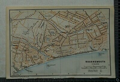 1910 Vintage Baedeker Map Plan of Bournemouth