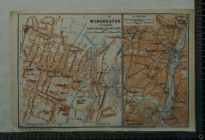 1910 Vintage Baedeker Map of the Environs of Winchester, Hampshire