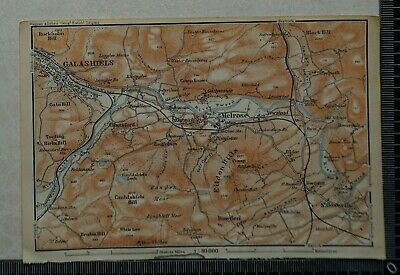 1910 Vintage Baedeker Map of the Environs of Melrose, Scotland
