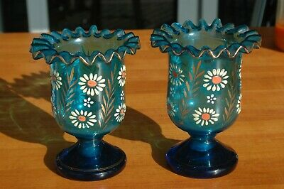 Pair of Blown Bohemian Czechoslovakian Blue Enameled Glass Vases