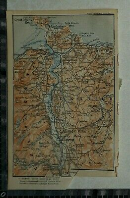 1910 Vintage Baedeker Map of the Valley of the River Conway, North Wales