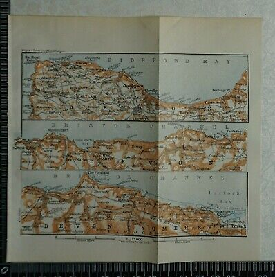 1910 Vintage Baedeker Map of the North Coast of Devon